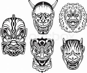 Demon Japonais Dessin : japanische d monische noh theater masken vektorgrafik colourbox ~ Maxctalentgroup.com Avis de Voitures