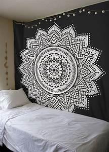 Black white rangoli mandala wall tapestry royalfurnish