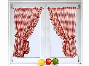 petits rideaux petits voilages brise bises pas cher With rideaux à carreaux rouge et blanc