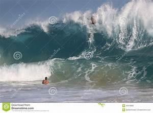 Bodysurfer Over The Falls At Sandy Beach Hawaii Editorial ...