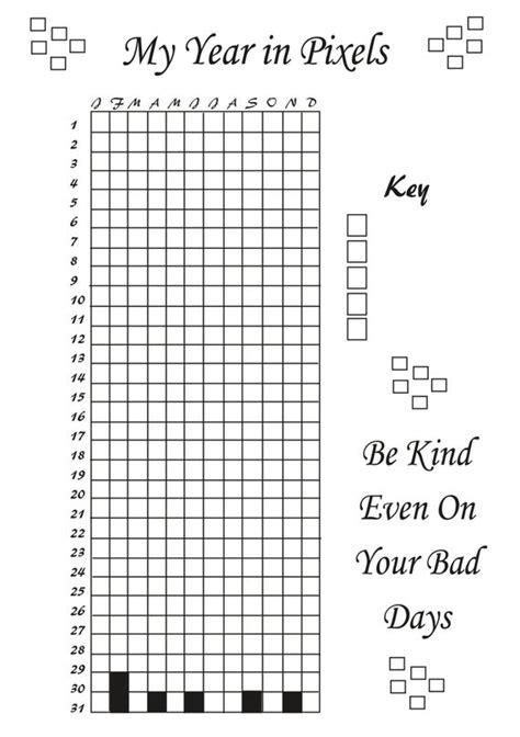 printable life  pixels bujo style mood tracker