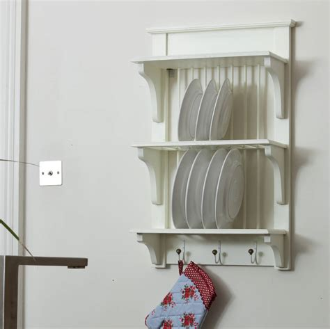 wooden painted plate rack wall unit   orchard