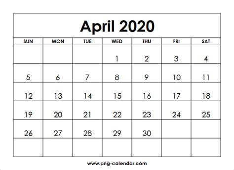 blank april calendar printable png calendar template
