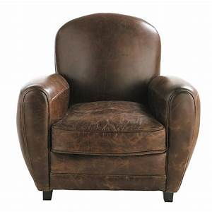leather club armchair in brown oxford maisons du monde With fauteuil cuir design