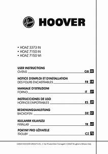 Hoover Multi Function Oven Hoaz 3373 In Instruction Manual
