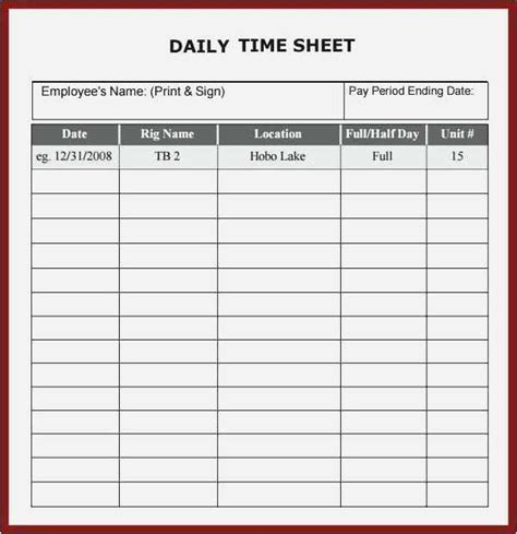 daily time sheet examples time sheet templates