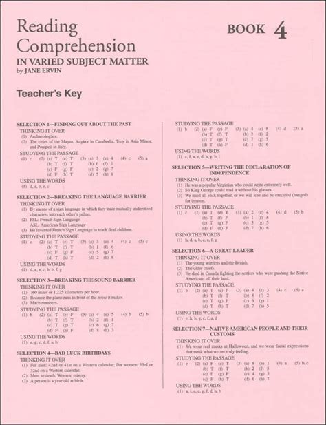 Scholastic Success With Reading Comprehension Grade 4 Answer Key  Daily Reading Comprehension