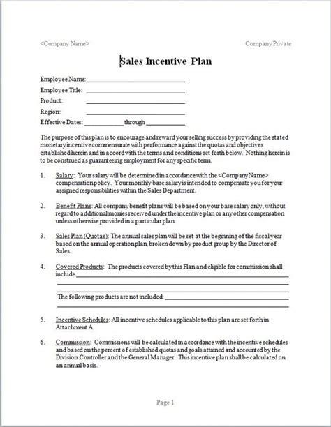 sales compensation plan template eloquens