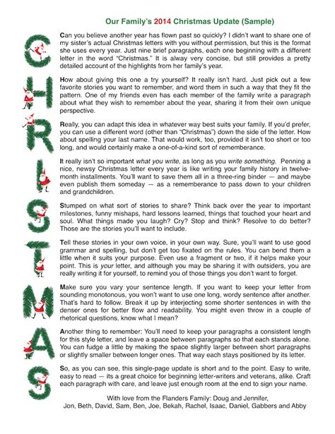 christmas letters patterns samples  templates