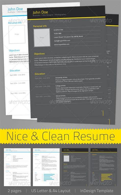 clean resume print templates indesign templates