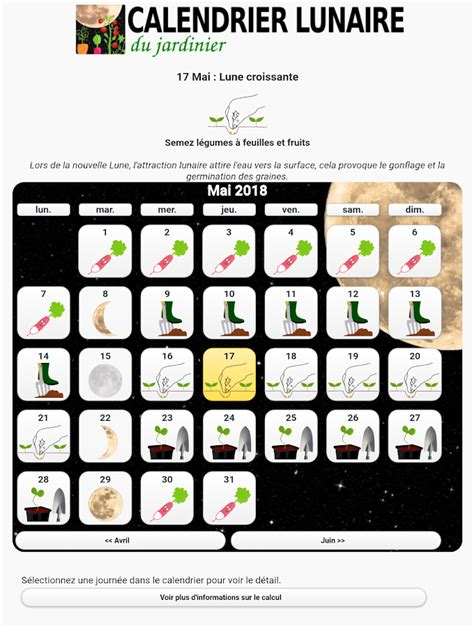 Calendrier Lunaire Du Jardin by Calendrier Lunaire Du Jardin Applications Android Sur
