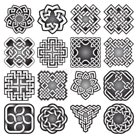 set  abstract sacred geometry symbols  celtic knots