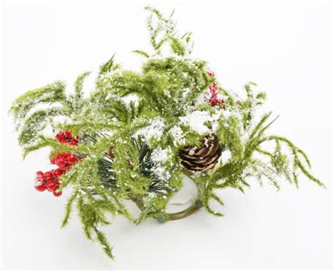 frosted pine and berry taper candle ring holiday florals