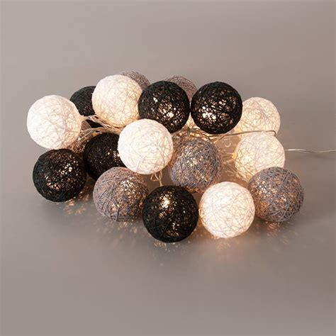 guirlande lumineuse 20 boules led en coton tress 233 noir