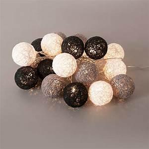 Guirlande Boule Lumineuse : guirlande lumineuse 20 boules led en coton tress bubble noir ~ Teatrodelosmanantiales.com Idées de Décoration