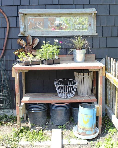 Hometalk   Potting Table Made From Reclaimed Wood