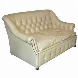 Small tufted pale yellow leather sofa bed at 1stdibs for Yellow leather sofa bed
