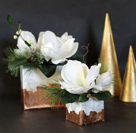 marble copper cube winter floral arrangement persia lou