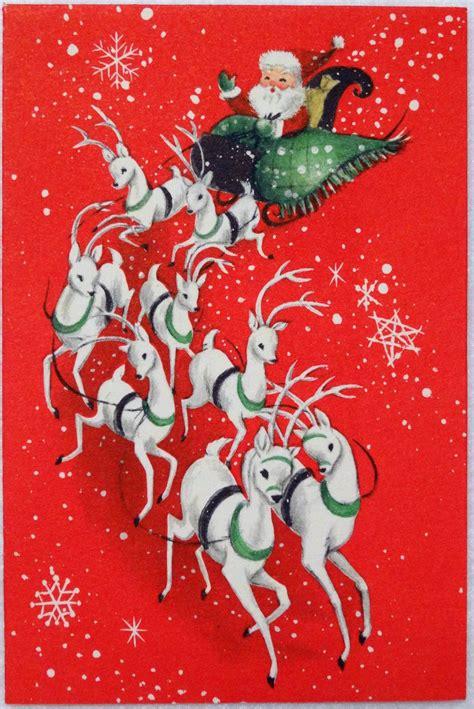 hallmark mid century santa reindeer vintage