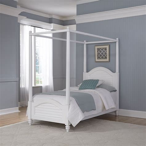 Home Styles Bermuda Brushed White Twin Canopy Bed