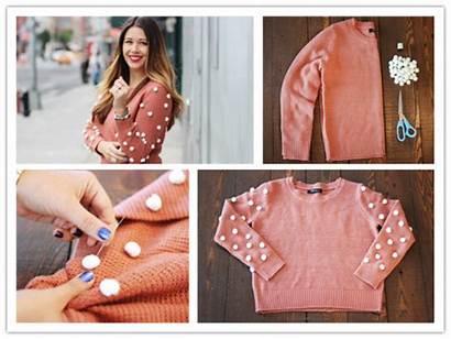 Diy Pom Sweater Polka Dot