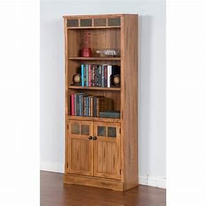 Sunny, Designs, Sedona, Bookcase, With, Doors, -, Rustic, Oak