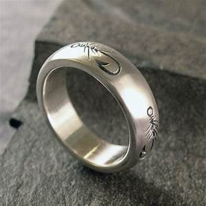 Fly Fishing Ring Wedding Band Sterling Silver