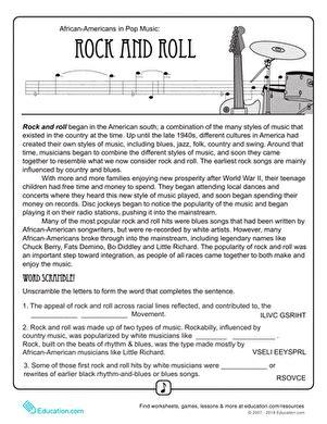 history of rock n roll worksheet education
