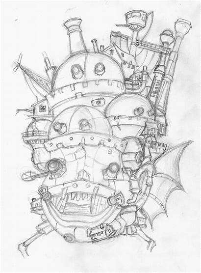 Castle Moving Howl Howls Ghibli Studio Drawing