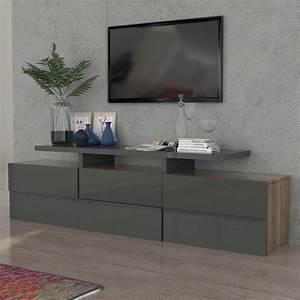 Meuble Gris Laqué : meuble tv gris laqu brillant et couleur bois sofamobili ~ Nature-et-papiers.com Idées de Décoration