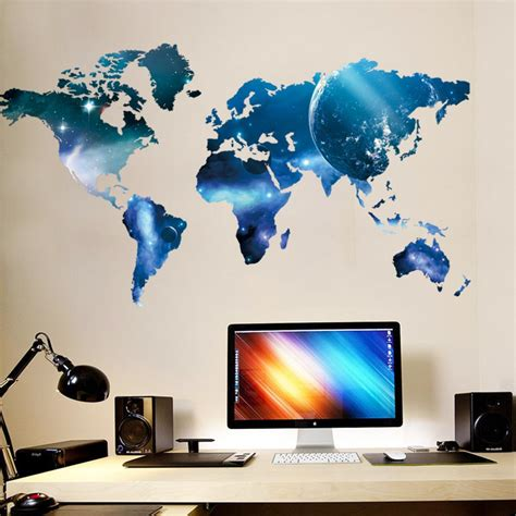 sticker bureau map space wall sticker
