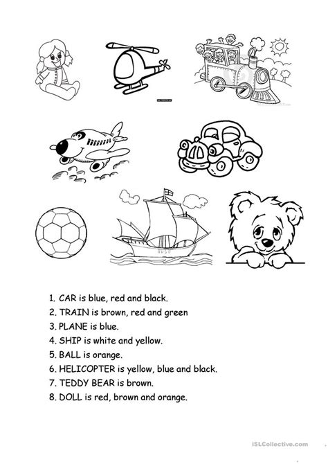 toys english esl worksheets  distance learning