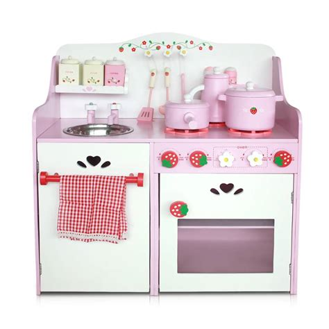 childrens wooden kitchen accessories 9pc wooden kitchen play set accessories pink buy 5392