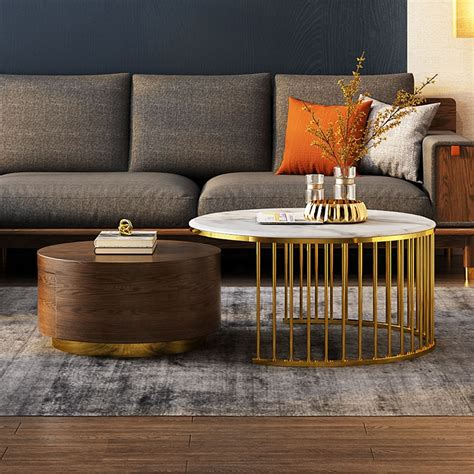 Its geometric design gives it a unique, modern look. Marble Top Solid Wood Coffee Tables Metal Gold Round Shape Living Room Furniture Tea Table With ...