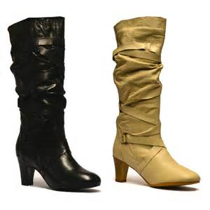 s slouch boots australia womens leather knee high slouch mid heel biker boots shoes size ebay