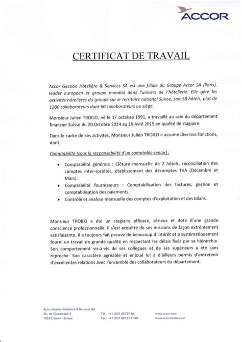 groupe accor si e social certificat de stage accor