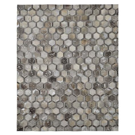 Cowhide Patchwork Rug Gray by Cannes Gray Cowhide Patchwork 8 X 10 Area Rug El