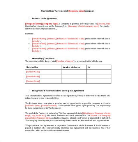 shareholders agreement template 13 shareholder agreement templates free sle exle format free premium