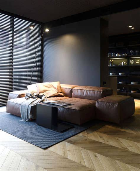 Small Masculine Apartment in Dark Color Schemes   InteriorZine
