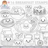 Breakfast Coloring Pages Commercial Stamp Party Digi Etsy Digital Digistamp Graphic Food Getdrawings Getcolorings Cute Stamps Printable sketch template