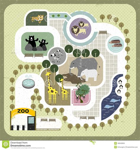 flat design zoo map stock vector image 48940694