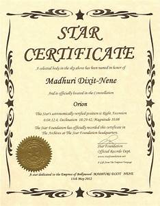 Dreamland of films a star for a superstar madhuri dixit for Star naming certificate template