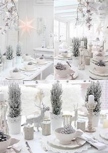 Idee Deco De Table Noel : blanc chic id es de d coration pour la table de no l ~ Zukunftsfamilie.com Idées de Décoration
