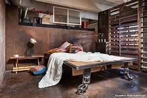 Chambre Deco Industrielle : chambre style industriel with industriel salon ~ Zukunftsfamilie.com Idées de Décoration