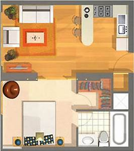 Small Apartment Plans Of 40m2 For A Single Person Or Childless