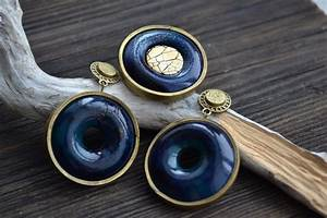 dark blue and gold earrings