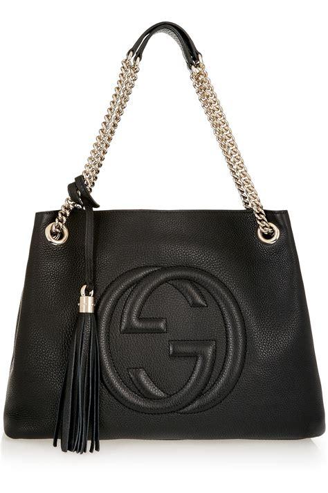 gucci soho medium textured leather shoulder bag  black lyst