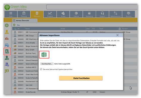 adressenadressdaten importieren falcana hilfe