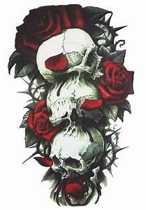 Dessin Tete De Mort Avec Rose : faux tatouage tete de mort et rose shop en ligne kolawi ~ Melissatoandfro.com Idées de Décoration