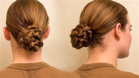 military regulation braid bun  long hair youtube